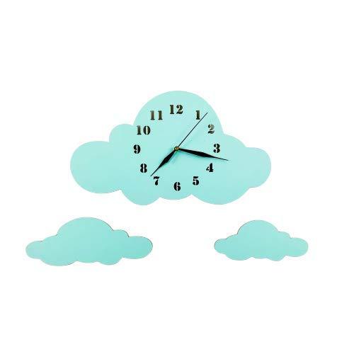 BABEES Kinder Wanduhr Wolken, Uhr ohne Tickgeräusche, Kinderuhr für Kinderzimmer, Lautlos Uhrwerk, Wanddeko Skandi Deko Mint