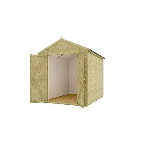 8 x 6 Pressure Treated Modular Hobbyist Apex Central Double Door Windowless Shed with OSB Floor and OSB Roof 2.43m x 1.82m