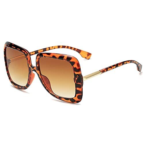 YHKF Gafas De Sol Cuadradas De Gran Tamaño Gafas De Sol De Moda para Mujer Gafas De Sol Vintage con Gradiente para Hombre Uv400-Leopard_Brown