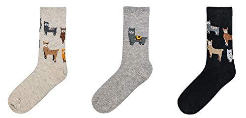 socksPur DAMEN SÖCKCHEN Motive LAMA 3er- BÜNDEL (39-42, 2164: LAMA in natur-grau-schwarz)