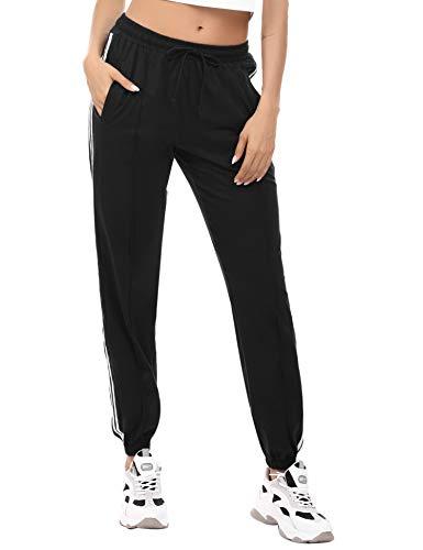 Irevial Pantalones Deportivos para Mujer de 100% Algodon, Pantalon Pijama Mujer Largos de Altos de Cintura Casual Yoga Pants con elástico Cinturón y Bolsillos