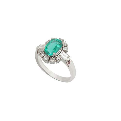 Spectrum Jewels - Anillo de piedras preciosas ovaladas de esmeralda de 1,88 quilates, diamantes redondos de 18 quilates, joyas de oro blanco de 18 quilates para niñas y mujeres