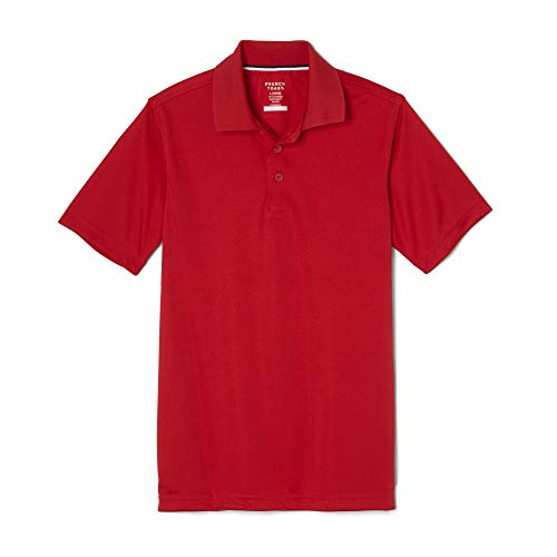 French Toast Boys' Big Short Sleeve Moisture Wicking Stretch Sport Polo Shirt, Red, 14-16