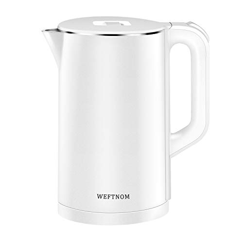 Electric Kettle, Weftnom 1.7L 1500W Double Wall 100% Stainless Steel BPA-Free Cool Touch Tea Kettle Water Boiler with Overheating Protection, Cordless...