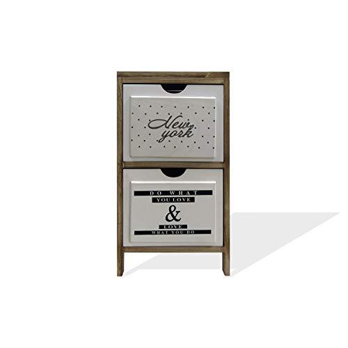 Rebecca Mobili Comodino Salvaspazio, Cassettiera 3 Cassetti, Design Nordico, Legno, Marrone Chiaro Bianco, Arredamento Camera Bagno - Misure: 61 x 30 x 24 cm (HxLxP) - Art. RE6503