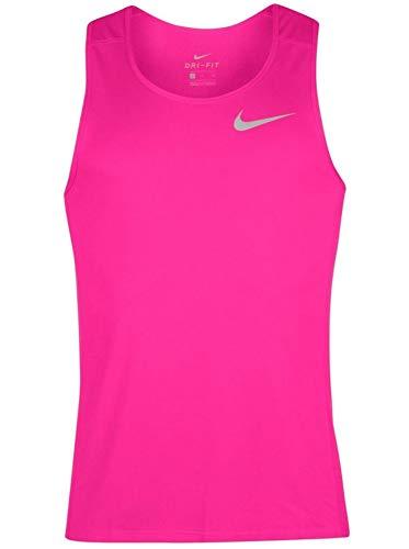 NIKE Dry Dri Fit Miller Tank Top Men's Sleeveless Running Shirt (Large, Racer Pink/Fuschia)