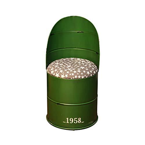 YouYou-YC Vintage Barhocker, Barhocker, Ölfass Hocker, Eisen Freizeit Hocker, Farbeimer, Restaurant Abendessen Hocker, Runder Zinn-Eimer Lagerung Hocker 3 Farben (Color : Green)