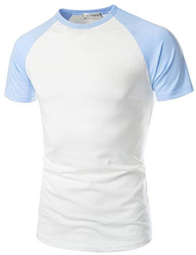 TheLees (NKRST622 Prime Unisex Slim Fit Crew Neck Short Sleeve Raglan T-Shirts WHITESKYBLUE US XS(Tag Size S)