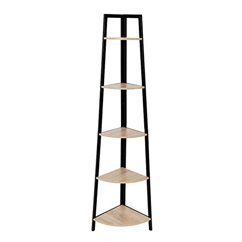 C-Hopetree Corner Ladder Shelf - 5 Tier Display Bookshelf - Black Metal Frame