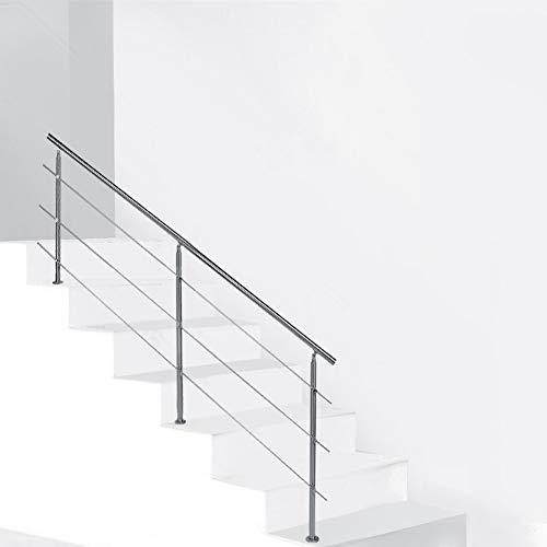 Pasamanos Barandillas Acero Inoxidable para Balcón 150x102.5 cm Barras de Rieles de Escaleras Anticorrosivo(Three Cross Bar)