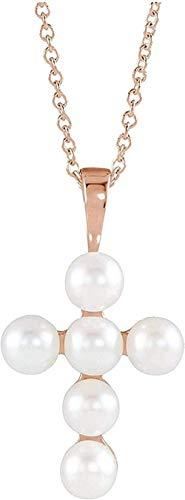 LKLFC Collar Colgante Collar de Cadena Mujeres Hombres Collar de Oro Rosa de 14k Collar con Colgante de Cruz con Perlas Blancas cultivadas de Agua Dulce 16-18 (22.98X12.39MM) (4-4.5MM) Regalo