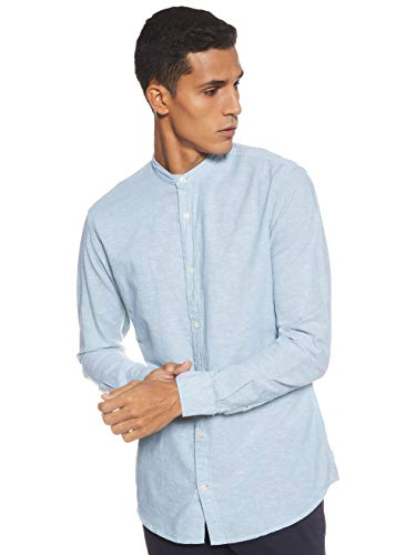 JACK & JONES Herren JJESUMMER Band Shirt L/S NOOS Freizeithemd, Blau (Arctic Fit: Slim Fit), (Herstellergröße: XX-Large)