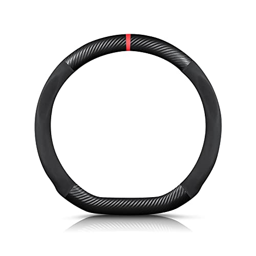 Ergocar Forma di D Fibra di Carbonio e Pelle PU in Microfibra Coprivolante Antiscivolo Coprivolante per Auto Universale Sport Traspirante Per diametro 38 cm(15')-Nero Rosso