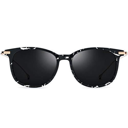 MGWA Gafas de Sol Nuevas Gafas De Sol Polarizadas B De Titanio B Gafas De Moda Ultraligeras for Mujer Modelo En Blanco Y Negro Tinta Gris Protector UV400