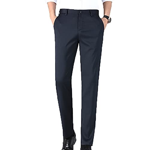 Men's Leisure Dress Pants Skin-Friendly Slim Fit Bottoms Button Zip Thin Long Everyday Daily Formal Smart Trousers