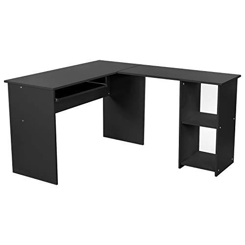 VASAGLE Eckschreibtisch, großer Computertisch mit 2 Ablagen und Tastaturauszug, Schreibtisch, 140 x 120 cm, stabiler PC-Tisch, Winkelkombination, Bürotisch, erleichterte Montage, schwarz, LCD810B