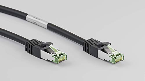 goobay CAT 8.1 Patchkabel, S/FTP (PiMF) Kabel, schwarz, 1 Meter