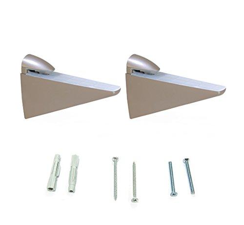 Emuca 4009224 Lote de 2 soportes mod. Halcon para estante de madera o cristal de espesor 8-40mm acabado níquel mate