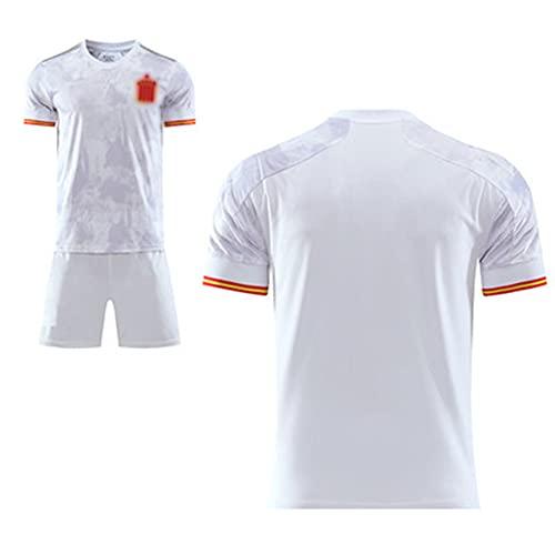 Conjunto de Camiseta de fútbol para Hombre y Mujer, Local Europeo de España 2021, Camisetas de Aficionado, Camiseta Blanca Ropa Deportiva S-XXL
