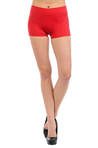Anza Womens Active Wear Dance Booty Shorts-Red,Small