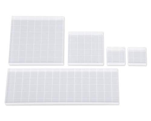SCSpecial Acryl stempelblok met rasterlijnen Diverse maten Transparant stempelgereedschap Set van 5 acrylblok voor het maken van kaarten