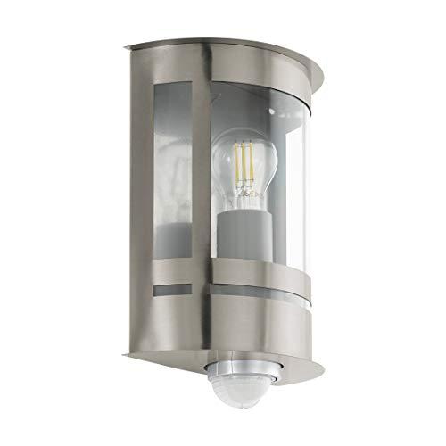 EGLO Außen-Wandlampe Tribano, 1 flammige Außenleuchte inkl. Bewegungsmelder, Sensor-Wandleuchte aus verzinktem Stahl, Edelstahl und Kunststoff, Farbe: Silber, Fassung: E27, IP44
