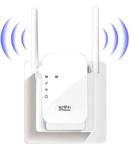 FKH Ripetitore WiFi Wireless 300Mbps WiFi Extender Wireless velocità Single Band 2.4GHz Amplificatore Segnale Wi-Fi Porta LAN, 2 Antenne, Pulsante WPS, modalità Ripetitore/Router/AP
