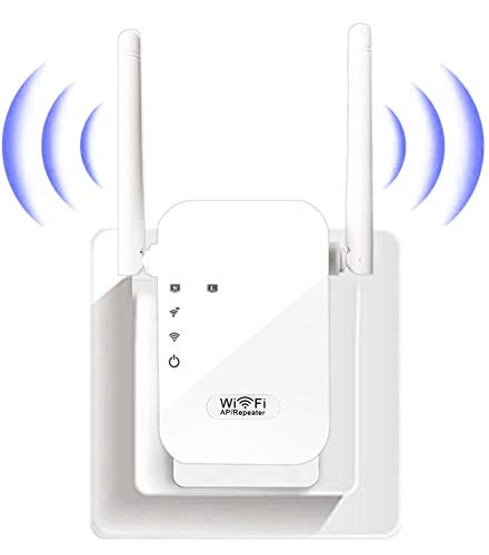 FKH WiFi Repetidor Router, 300Mbps Enrutador Inalámbrico Extensor de Red WiFi Ap Amplificador Wireless Repeater Booster Wireless-N 2.4GHz Modem con Antena 2x5dBi (WPS)