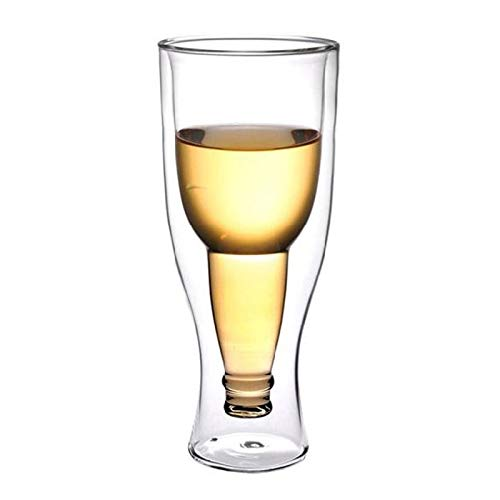 Creative flipped beer glass inverted glass art transparent double glass