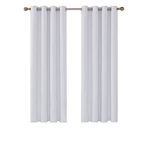 Deconovo Cortinas Salon Opacas Térmicas Aislantes de Dormitorio Moderno 2 Piezas 132 x 160 cm Gris Blanco