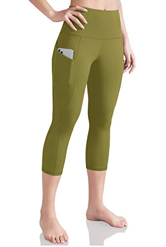 ODODOS Women's High Waist Yoga Capris with Pockets,Tummy Control,Workout Capris Running 4 Way Stretch Yoga Leggings with Pockets, Army, X-Large