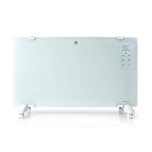 NEDIS Cristal Calentador por convección Calefactor por Convección - 2000 W - Panel de Vidrio - Termostato Ajustable - Pantalla LCD - 2 Configuraciones - Montaje en Pared/de Pie - Blanco Blanco 1.50 m