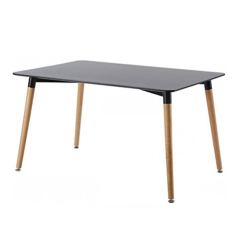 Designetsamaison Table à Manger rectangulaire scandinave Noire 120cm - Brevik