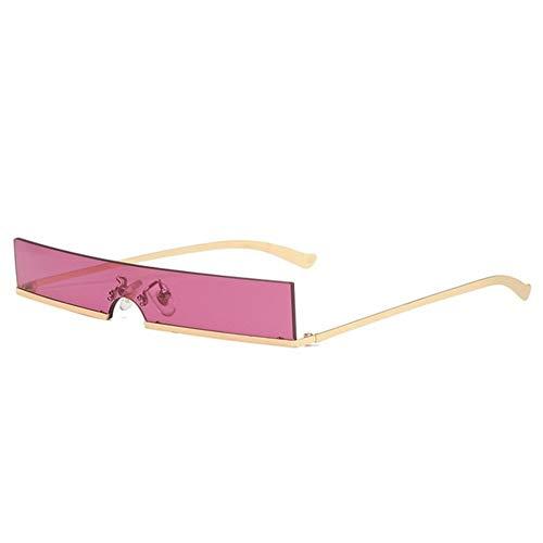 FDNFG Moda Medio capítulo rectángulo pequeño de los vidrios de Mujer de Marca Popular diseñador de una Pieza Rojo Sombras Hombres Mujeres Gafas de Controladores Gafas de Sol (Color : Pink)