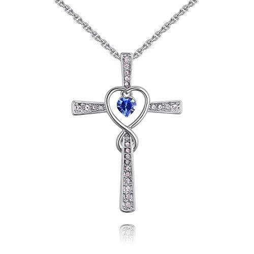 QUADIVA G! Collana da donna Cross with Heart – Croce con cuore MTN (colore: oro bianco/cristallo Montana a cuore) decorata con cristalli di Swarowski®