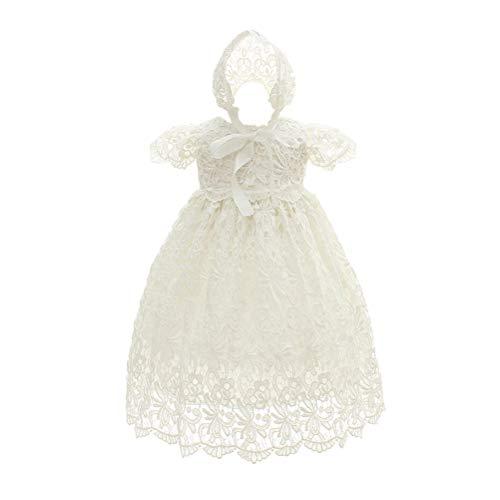 Zhhlinyuan Manche Courte Robe de Princesse Bébé Filles Robe de Cérémonie Soirée Anniversaire Mariage Robe - 0-24 Mois Robes de Baptême Robe de Fête d'anniversaire pour Bébé avec Chapeau