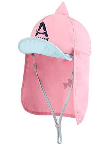 Foruhoo Baby Mütze UV-Schutz 50 mit Kordelzug for Jungen, Breite Krempe Sommerhut Sonnenhut (52, hai rosa)
