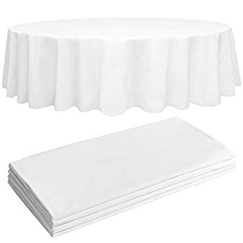 4 White Premium Round Plastic Tablecloth - 84  Plastic Table Cloth | Disposable Tablecloths | White Tablecloths | Plastic Table Cover | Paper Tablecloths for BBQ Party Fine Dining Wedding ,Outdoor