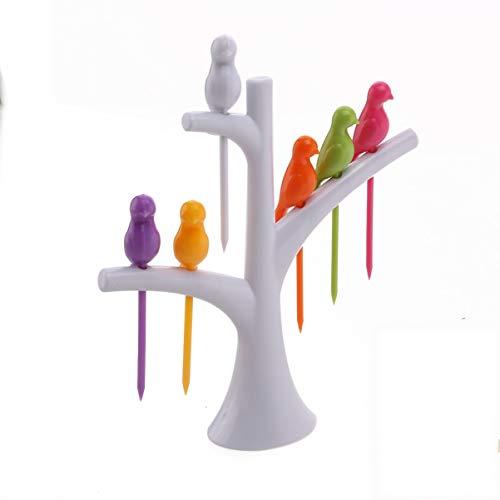 UPKOCH UPKOCH Palitos de fruta en forma de pájaro de plástico con base de árbol Sandwich Aperitivo Palitos de cóctel para artículos de fiesta (Blanco)
