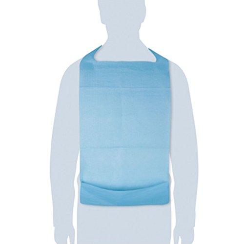 Bavoirs jetables en polyéthylène 100 pcs - imperméable avec poche - Bavois Idéal pour la restauration, les personnes adultes et âgées - Résistant aux déchirures