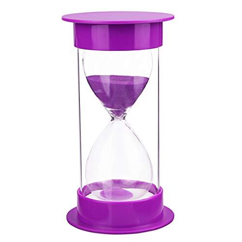Toirxarn clessidra timer sicurezza bambini clessidra orologio da cucina orologio da sabbia, regalo creativo, decorazione soggiorno camera da letto ufficio regalo-60 minuti viola