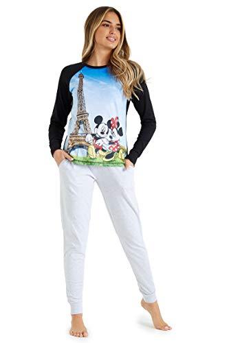 Disney Pijamas Mujer, Pijama Mujer Invierno con Mickey y Minnie Mouse, Conjunto 2 Piezas Camiseta Manga Larga y Pantalon, Regalos para Mujer y Adolescente S-XL (Negro Paris, M)