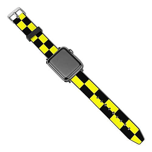 Correa de repuesto para reloj Apple Watch de 38 mm, 40 mm, correa de repuesto para iWatch Series 5/4/3/2/1, color amarillo fluorescente brillante, negro neón