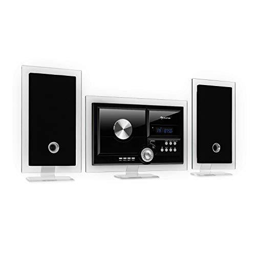 auna Stereo Sonic DAB+ Stereoanlage, Wandmontage, DAB+/UKW-Radiotuner, automatischer CD-Player, USB-Port für MP3-Dateien, Bluetooth-Funktion, AUX-Eingang, LCD-Display, Schlaf-Funktion, pianoschwarz