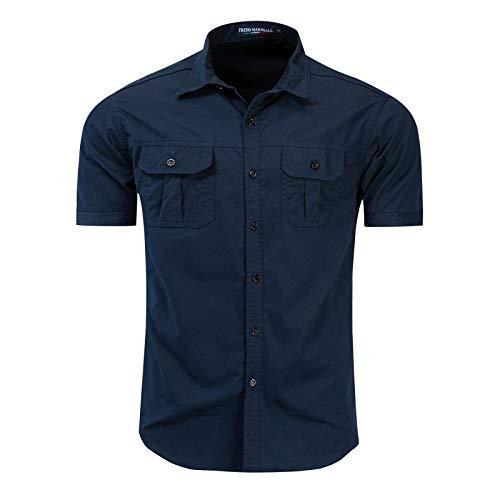 Camisa Militar de Carga al Aire Libre para Hombres Camisas de Manga Corta con Solapa de Color sólido Camisas clásicas de un Solo Pecho con Dos Bolsillos Tops básicos L