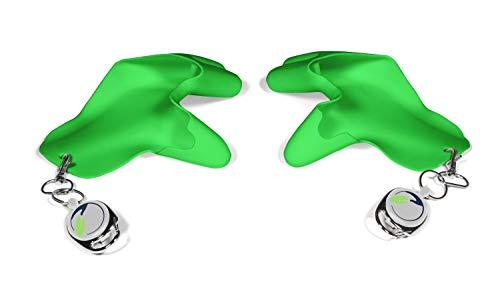 Tatschi Guantes de higiene con cremallera para documentos de identidad, lavables, reutilizables, modernos, para uso diario, con asa, sin contacto, para mujer, hombre y niños verde vivo S