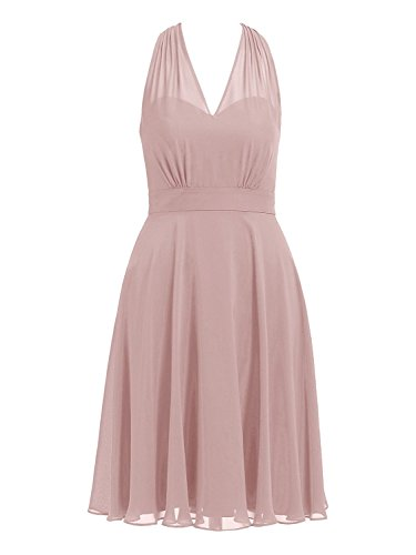 Cdress Halter Short Bridesmaid Dresses Chiffon Prom Homecoming Dress V-Neck Party Cocktail Gowns US 10 Dusty Rose