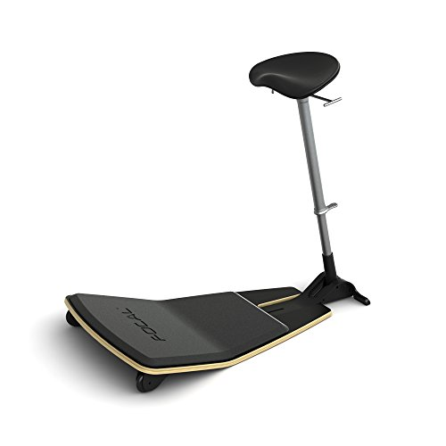 Active Collection Locus Mobile Stand-up Leaning Seat with Foot Rest Platform, Matte Black