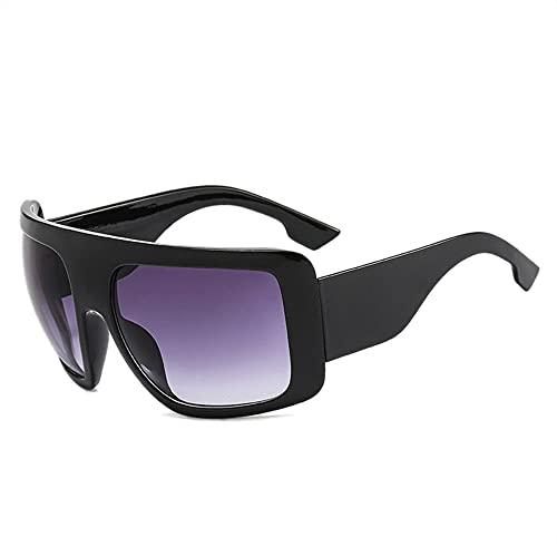 HAIGAFEW Gafas De Sol Cuadradas Grandes para Mujer Gafas De Gran Tamaño Gafas De Sol Grandes para Mujer Y Hombre Proteger Los Ojos-Gris Oscuro