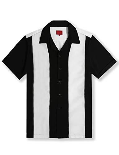 Allsense Men's Short Sleeve Retro Button Down Bowling Camp Shirts Two Tone Striped M Black White